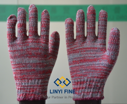Color cotton knitted gloves